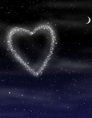 Illustration:  A heart made of stars in the starry night sky